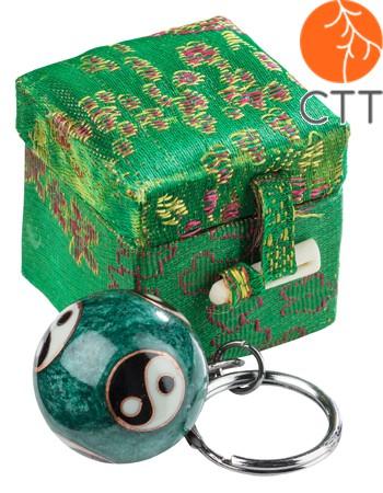 porte clé motive YING et YANG, avec son, boule en vert