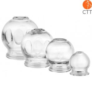 Set de Ventouses en verre, 4 piéces,    Ø 3.5cm, 4.5cm, 5.5cm, 6.5cm