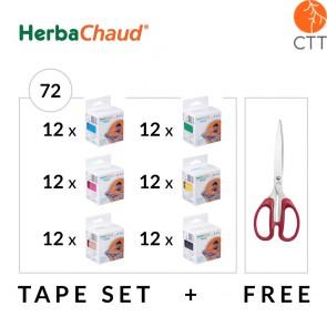 HerbaChaud Bandes - Set 72 rouleaux de 5cm x 5m   ciseaux