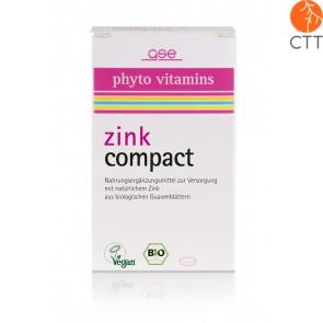 Zinc Compact naturel, végétalien, sans gluten, 60 comprimés de 500 mg