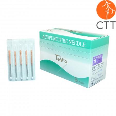 TeWa 5CB-Type Speed Pak needles, copper handle, 1000 needles per box, 5 needl. per tube, silicon coated