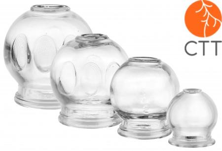 Cupping Jar Glas Set 4 pieces.;  1 once Ø 3.5cm, 4.5cm, 5.5cm, 6.5cm