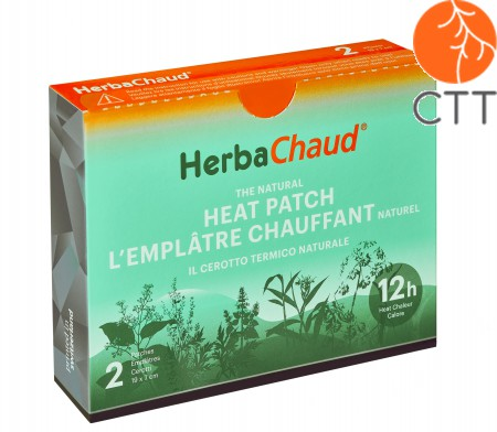 HerbaChaud heating patch reseller box for doctors and therapists (labelling in French / Italian / English), 43 patches included
