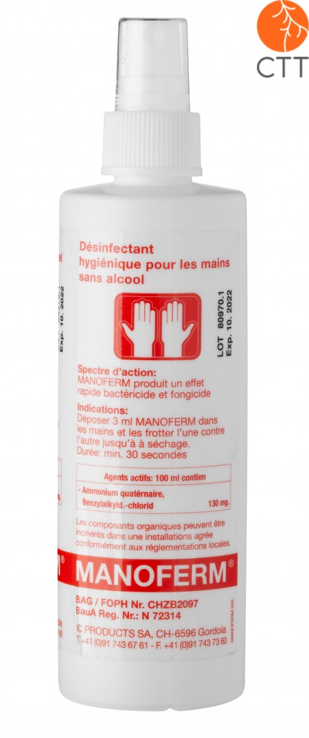 MANOFERM 250ml pump spray for hands and skin disinfection - without alcohol or other toxic substances