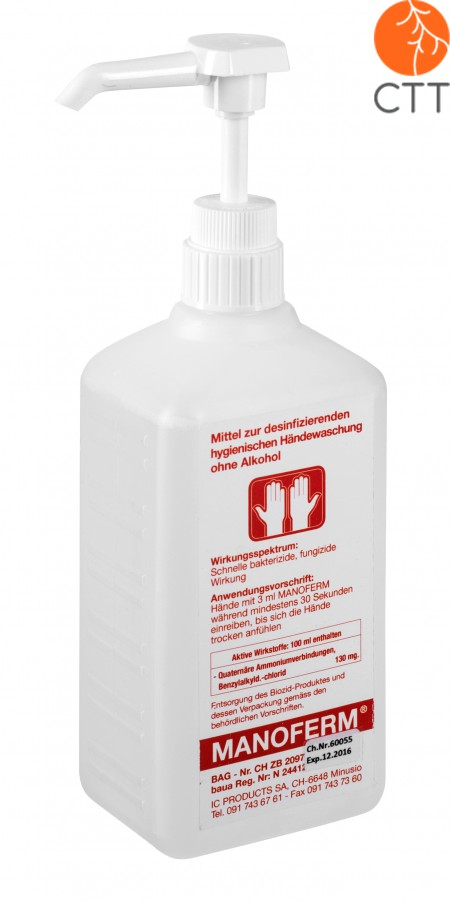 Manoferm, 500ml bottle with dispenser, for hand and skin disinfection without alcohol or other toxic substances