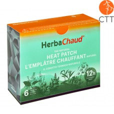 HerbaChaud natural heat patch with English French Italian packaging