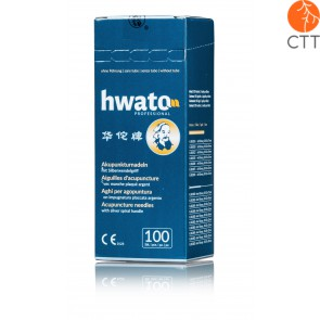 HWATO needle without tube, silicon free, with silver handle, 100 needles per box