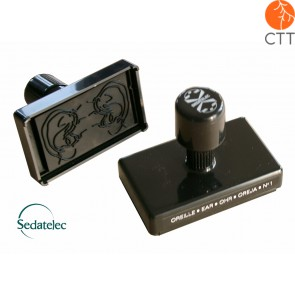 Self-inking wooden ear stamp no. 1 from Sedatelec