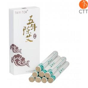 Moxa Cigars DELUXE Tai Yie Moxa Rolls, Pure Mugwort and 12 Herbs, Top Quality 10 Rolls per Box, 1.5 x 21cm