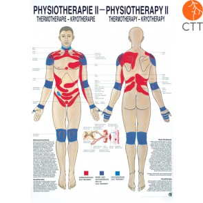 Poster Physiotherapy II, 50 x 70cm, Thermo- & Cryotherapy, with fine metal bar on top and bottom