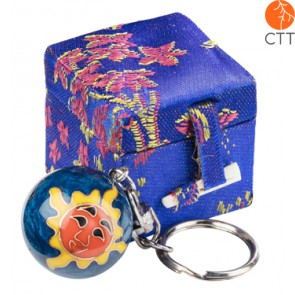 key ring chain ball SUN darkblue design in brocade box