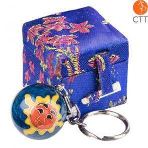 key ring chain ball SUN darkblue design in brocade box