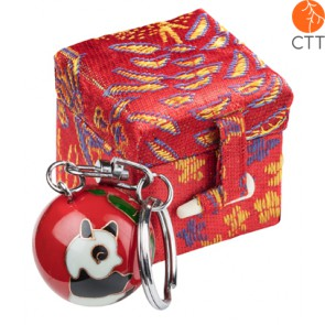 key ring chain ball PANDA red design in brocade box