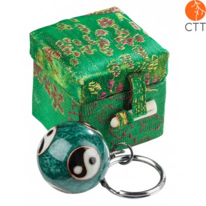key ring chain ball YING and YANG on green ball, in brocade box