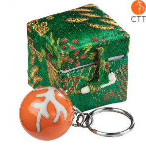 key ring chain ball CTT design, in brocade box, orange ball