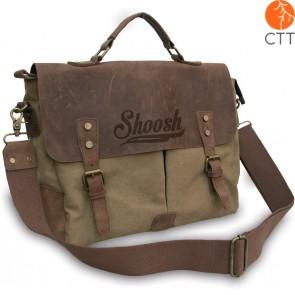 Shoosh® canvas-leather Handbag ideal for Laptop, khaki, Soft Material,Eco-friend