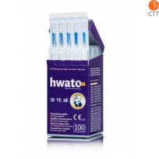 HWATO needle with tube, silicon free, with silver handle, 100 needles per box