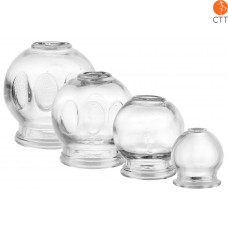 Cupping Jar Glas Set 4 pieces.;  1 once Ø 3.5cm, 4.5cm, 5.5cm, 6.5cm