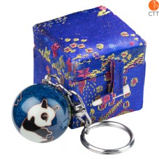 key ring chain ball PANDA blue in brocade box