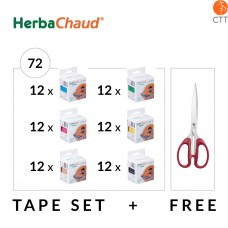 HerbaChaud Tape Set 72 rolls, each 5cm x 5m + titan cissors
