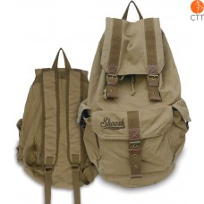 Shoosh® Canvas Backpack Rucksack, 100% Canvas soft, colour khaki, Eco friendly,